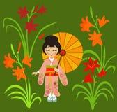 La muchacha japonesa admira el daylily floreciente Fotos de archivo