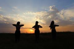 La muchacha joven del deporte que presenta y que sonríe, realiza movimientos de la danza y la posición Imagen de archivo