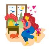 La muchacha lee una postal al día de tarjeta del día de San Valentín del St Un ramo de flores, de un regalo y de una postal Humor libre illustration