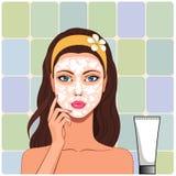 La muchacha limpia la cara stock de ilustración