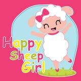 La muchacha linda de las ovejas es ejemplo feliz de la historieta para el diseño de la camiseta del niño Imagen de archivo