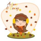La muchacha linda detrás de las hojas de arce y del otoño es ejemplo de la historieta del texto que viene para el diseño de tarje Imagen de archivo libre de regalías