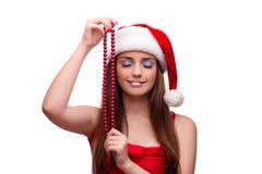 La muchacha linda en concepto de la Navidad aislada en blanco Foto de archivo