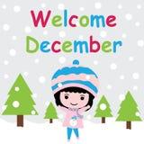 La muchacha linda es feliz en historieta del fondo de la caída de la nieve, la postal de Navidad, el papel pintado, y la tarjeta  Foto de archivo