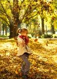 La muchacha linda está jugando con las hojas de otoño Imagen de archivo