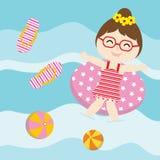 La muchacha linda juega con el anillo de la nadada en la historieta del vector del agua, la postal del verano, el papel pintado,  Fotografía de archivo libre de regalías