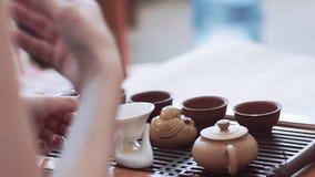 La muchacha lleva a cabo una ceremonia de té, enseña a cómo preparar té En la tabla son las tazas, la estatuilla y la tetera metrajes