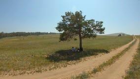 La muchacha miente debajo de un árbol y dibuja un paisaje en el campo almacen de metraje de vídeo