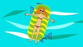 La muchacha miente en un colchón inflable, flotando en el mar ilustración del vector