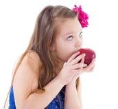 La muchacha, moda, manzana y subió Imagen de archivo libre de regalías