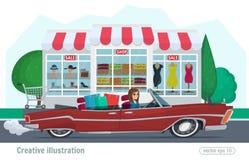 La muchacha monta en un descapotable rojo con la conducción de automóviles de las compras en el camino Vector la tienda femenina  Imagenes de archivo