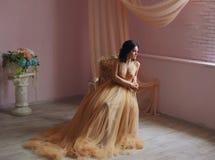 La muchacha morena en un vestido lujoso Foto de archivo libre de regalías