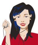 La muchacha morena que celebra a un jugador de música y escucha la música con él libre illustration