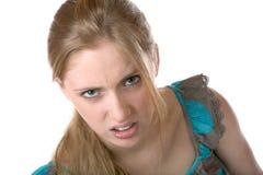 La muchacha muestra descontento Imagenes de archivo