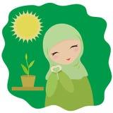 La muchacha musulmán crece una planta Ilustración del vector stock de ilustración