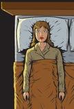 La muchacha no puede dormir Fotos de archivo