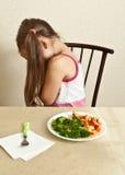 La muchacha no quiere comer Imagen de archivo libre de regalías