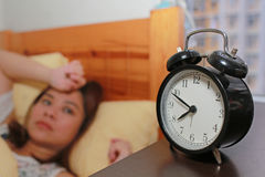 La muchacha no quiere despertar Foto de archivo libre de regalías