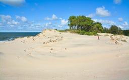 La muchacha pasa a través de las dunas de arena pintorescas al mar Imágenes de archivo libres de regalías
