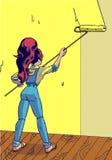 La muchacha pinta el arte pop de la pared Una nueva etapa de la vida Ejemplo del vector en estilo cómico Imagenes de archivo