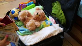 La muchacha pone cosas en la maleta para el viaje en primer almacen de video