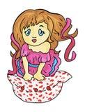 La muchacha por tarjetas del día de San Valentín del día Imagen de archivo libre de regalías