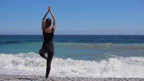 La muchacha practica la yoga cerca del mar, vídeo del hd de la cámara lenta almacen de video