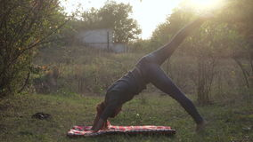 La muchacha practica yoga en naturaleza almacen de metraje de vídeo