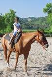 La muchacha preciosa está montando un caballo Foto de archivo