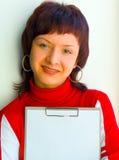 La muchacha publicitaria Imágenes de archivo libres de regalías