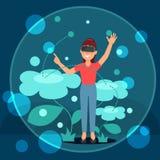 La muchacha que lleva los vidrios que caminan en un mundo fantástico, persona de la realidad virtual que goza de las auriculares  Foto de archivo libre de regalías