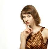 La muchacha que parece atenta Imagen de archivo libre de regalías