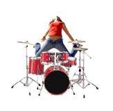 La muchacha que salta con el kit del tambor Fotografía de archivo