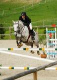 La muchacha que salta en un caballo blanco Fotografía de archivo libre de regalías