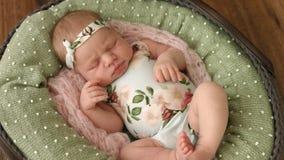 La muchacha recién nacida increíblemente linda en ropa con la impresión floral duerme en una cesta almacen de video