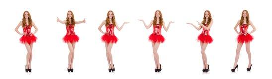 La muchacha roja del pelo en el traje del carnaval aislado en blanco imagenes de archivo