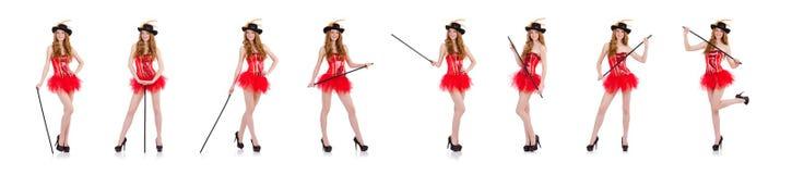 La muchacha roja del pelo en el traje del carnaval aislado en blanco fotografía de archivo libre de regalías