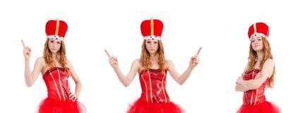 La muchacha roja del pelo en el traje del carnaval aislado en blanco fotos de archivo