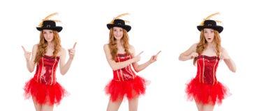 La muchacha roja del pelo en el traje del carnaval aislado en blanco imágenes de archivo libres de regalías
