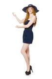 La muchacha roja del pelo en el vestido sin tirantes negro aislado en blanco Foto de archivo libre de regalías