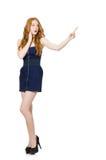 La muchacha roja del pelo en el vestido sin tirantes negro aislado en blanco Fotos de archivo