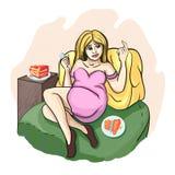 La muchacha rubia es preparada muchas más tortas, porque ella es stock de ilustración
