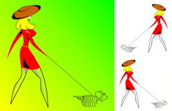 La muchacha - señora con un perro - vector Fotografía de archivo