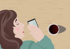 La muchacha se cayó dormido, esperando una llamada de su novio libre illustration