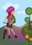 La muchacha se está colocando con su bici Fotos de archivo