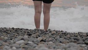 La muchacha se está colocando en la playa - Georgia almacen de video