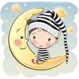 La muchacha se está sentando en la luna