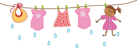 La muchacha se seca en la cuerda para tender la ropa con ropa del bebé stock de ilustración