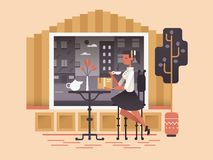 La muchacha se sienta en café ilustración del vector