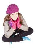 La muchacha se vistió en la ropa del otoño aislada sobre blanco Fotografía de archivo libre de regalías